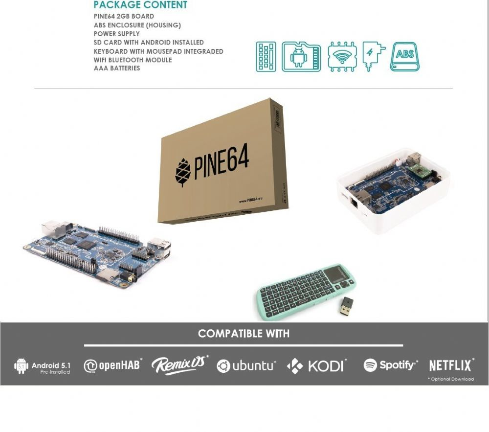 PINE A64+ Board 2GB Starter Kit + Wi-Fi/Bluetooth Module with ABS Enclosure